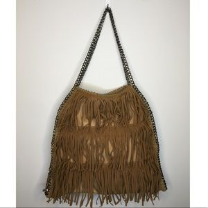 Handbags - Camel colour leather (?) fringed bag/ chain straps